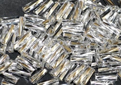 Best.Nr.:21148 Glasperlen / Stiftperlen getwistet  kristall mit Silbereinzug,  von Preciosa Ornella Tschechien hergestellt