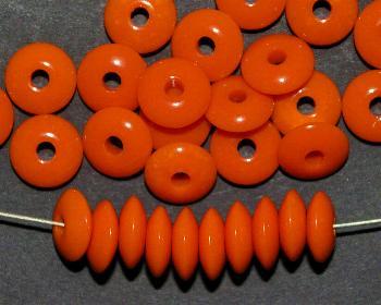 Best.Nr.:63399 Glasperlen / Trade Beads, Linsen, orange opak, in den 1930/40 Jahren in Gablonz/Böhmen hergestellt, (Prosserbeads)