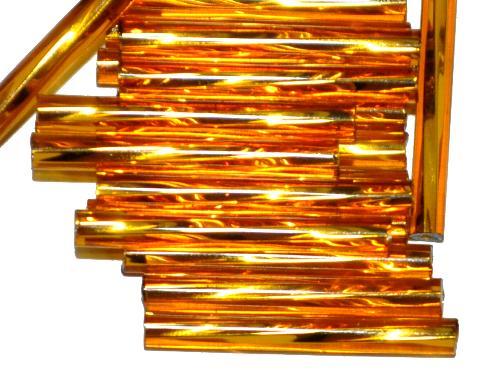Best.Nr.:21155  Glasperlen / Stiftperlen von Preciosa Ornella Tschechien,  getwistet, topas transp. mit Silbereinzug