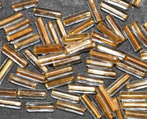 Best.Nr.:21161 Glasperlen / Stiftperlen  kristall mit Goldeinzug,  von Preciosa Ornella Tschechien hergestellt
