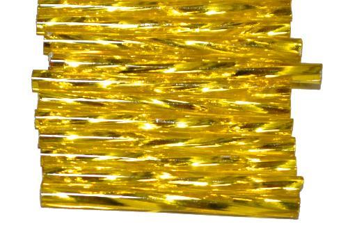 Best.Nr.:21191 Glasperlen / Stiftperlen von Preciosa Ornella Tschechien,  getwistet, gelb transp. mit Silbereinzug