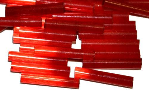 Best.Nr.:21194  Stiftperlen / Bugles von Ornella Preciosa Ornella Tschechien,  Satinglas rot