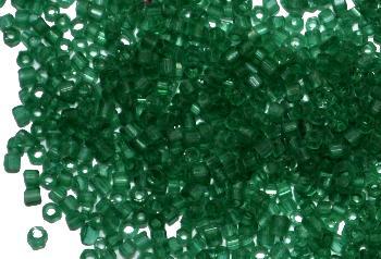 Best.Nr.:63693 Glasperlen / 2-cut Beads in den 1920/30 Jahren in Gablonz/Böhmen hergestellt, russischgrün transp.