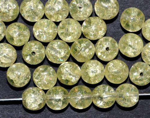 Best.Nr.:22016 Glasperlen rund  crash beads hellgelb uranium,  hergestellt in Gablonz / Tschechien