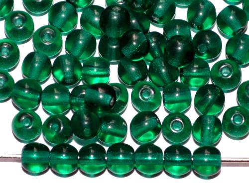 Best.Nr.:22026 Glasperlen rund grün transp., hergestellt in Gablonz / Tschechien