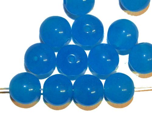 Best.Nr.:22031 Glasperlen rund  alabaster blau,  hergestellt in Gablonz / Tschechien