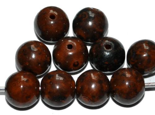 Best.Nr.:22042 Glasperlen rund, dunkelbraun marmoriert, hergestellt in Gablonz / Tschechien