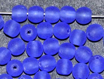 Best.Nr.:22090 Glasperlen rund blau transp. mattiert ( frostet ), hergestellt in Gablonz / Tschechien