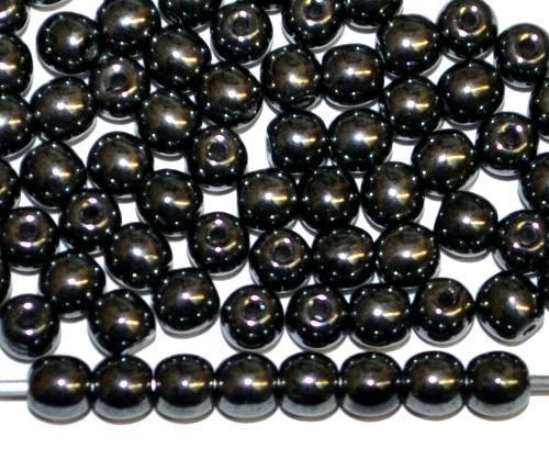 Best.Nr.:22101 Glasperlen rund  hämatit farben,  hergestellt in Gablonz / Tschechie