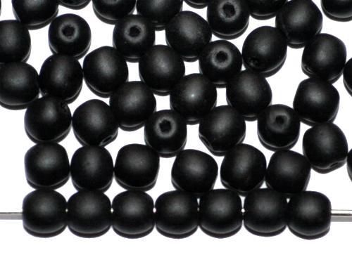 Best.Nr.:22102 Glasperlen rund schwarz opak matt, hergestellt in Gablonz / Tschechie