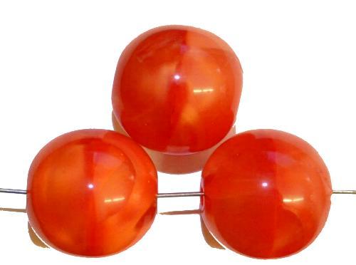 Best.Nr.:22167 Glasperlen rund  Perlettglas orangerot,  hergestellt in Gablonz / Tschechien