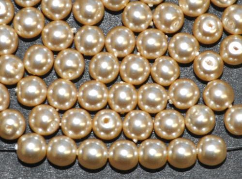Best.Nr.:22174 Glasperlen rund mit Wachsüberzug,  perlmuttglanz,  hergestellt in Gablonz / Tschechien