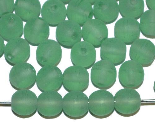 Best.Nr.:22174  Glasperlen rund,  russischgrün mattiert (frostet),  hergestellt in Gablonz / Tschechien