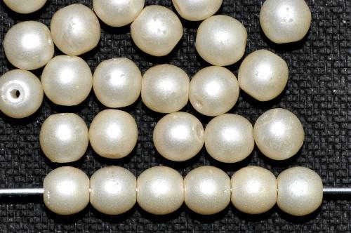 Best.Nr.:22180 Glasperlen rund mit Wachsüberzug,  perlmuttglanz mattiert,  hergestellt in Gablonz / Tschechien