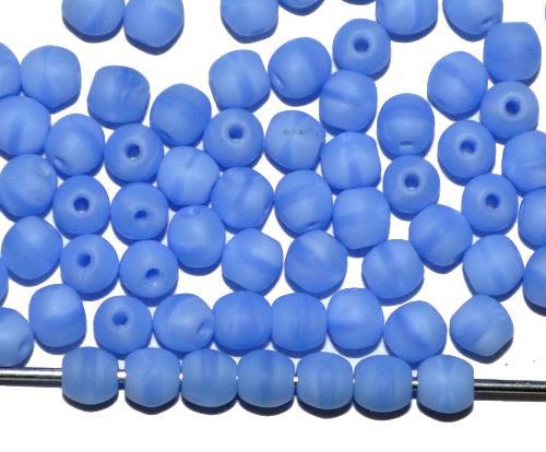 Best.Nr.:22189 Glasperlen rund  babyblau opak mattiert,  hergestellt in Gablonz / Tschechien