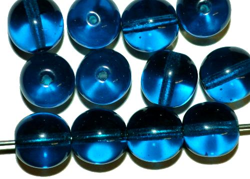 Best.Nr.:22193 Glasperlen rund  montanablau transp.,  hergestellt in Gablonz / Tschechien