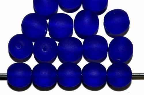 Best.Nr.:22198 Glasperlen rund  blau mattiert,  hergestellt in Gablonz / Tschechien