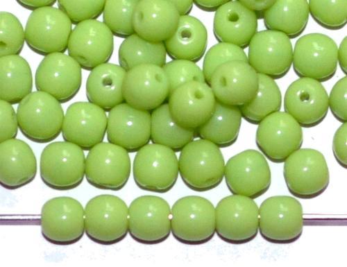 Best.Nr.:22202 Glasperlen rund hellgrün opak, hergestellt in Gablonz / Tschechien