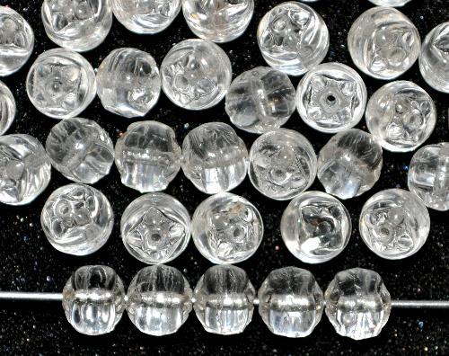 Best.Nr.:22238 Glasperlen geprägt,  kristall,  hergestellt in Gablonz / Tschechien