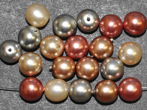 Best.Nr.:22239  Glasperlen rund mit Wachsüberzug,  perlmuttglanz Farbmix,  hergestellt in Gablonz / Tschechien
