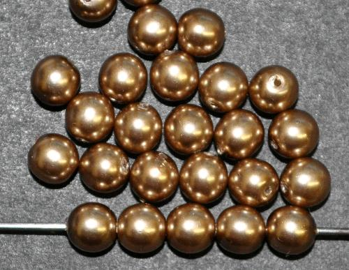 Best.Nr.:22243 Glasperlen rund mit Wachsüberzug,  metallic,  hergestellt in Gablonz / Tschechien