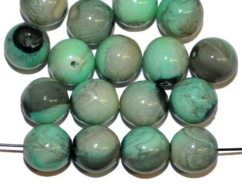 Best.Nr.:22247 Glasperlen rund mit Wachsüberzug,  stone effect türkis,  hergestellt in Gablonz / Tschechien