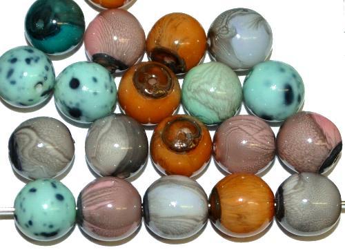 Best.Nr.:22273  Glasperlen rund mit Wachsüberzug,  stone effect Farbmix,  hergestellt in Gablonz / Tschechien