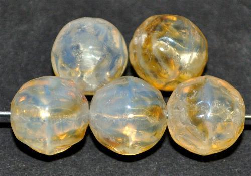Best.Nr.:22279  Glasperlen rund  Oberfläch strukturiert,  Opalglas,  hergestellt in Gablonz / Tschechien