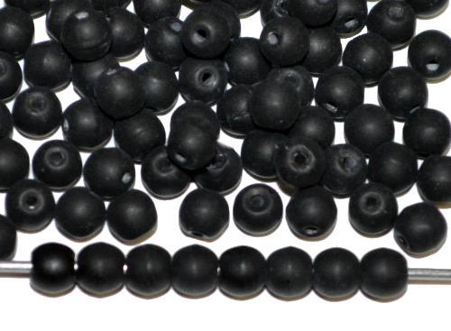 Best.Nr.:22284 Glasperlen rund schwarz mattiert (frostet), in den 1910/20 Jahren in Gablonz/Böhmen hergestellt