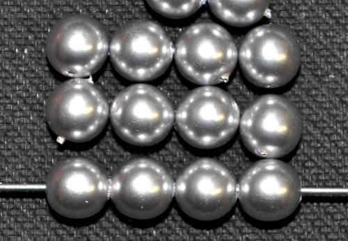 Best.Nr.:22299 Glasperlen rund mit Wachsüberzug,  silber,  hergestellt in Gablonz / Tschechien