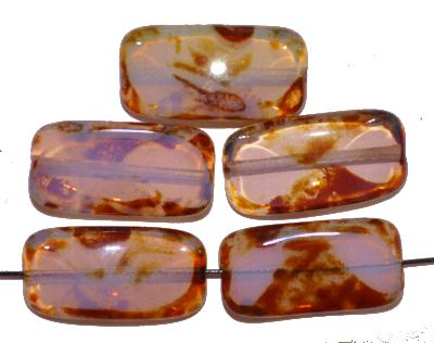 Best.Nr.:671222 Glasperlen / Table Cut Beads rosa opal, mit picasso finish