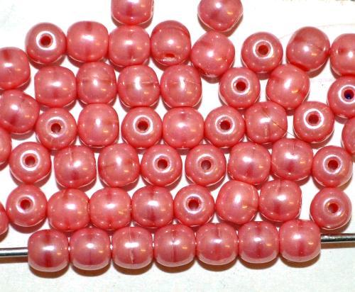 Best.Nr.:22332 Glasperlen rund  rosa opak mit lüster,  hergestellt in Gablonz / Tschechien