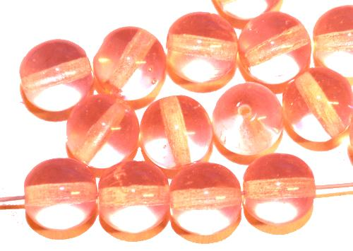 Best.Nr.:22343 Glasperlen rund  rosa transp.,  hergestellt in Gablonz / Tschechien