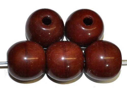 Best.Nr.:22358 Glasperlen rund mit großem Loch,  braun opak,  hergestellt in Gablonz / Tschechien