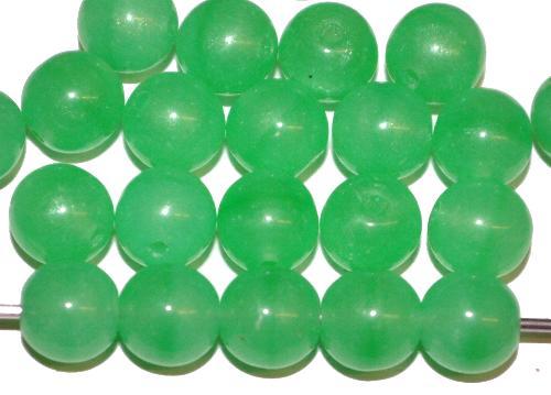 Best.Nr.:22366 Glasperlen rund  Alabasterglas grün,  hergestellt in Gablonz / Tschechien