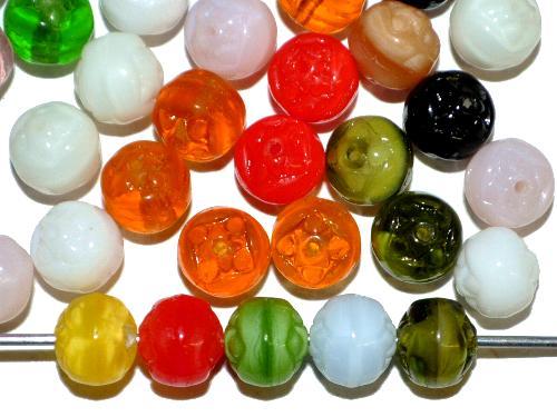 Best.Nr.:22384 Glasperlen geprägt,  Farbmix,  hergestellt in Gablonz / Tschechien