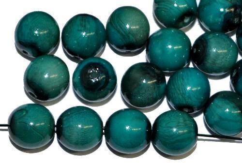 Best.Nr.:22396 Glasperlen rund mit Wachsüberzug,  stone effect petrol,  hergestellt in Gablonz / Tschechien