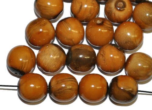 Best.Nr.:22408 Glasperlen rund mit Wachsüberzug,  stone effect hellbraun,  hergestellt in Gablonz / Tschechien