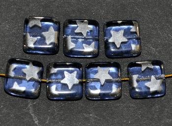 Best.Nr.:49324 Glasperlen Quadrate blau transparent mit silber Sternen
