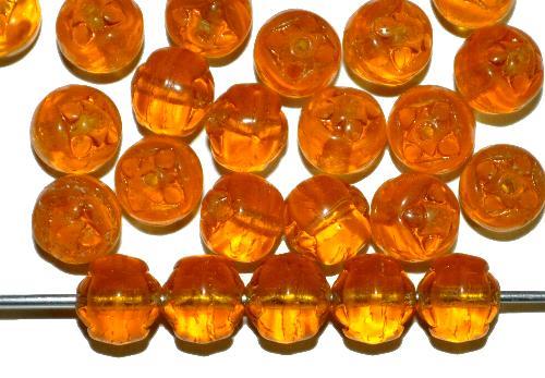 Best.Nr.:22445  Glasperlen geprägt,  topas,  hergestellt in Gablonz / Tschechien