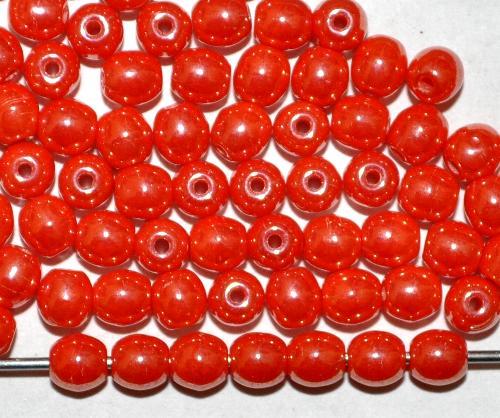 Best.Nr.:22453 Glasperlen rund  rot opak mit lüster,  hergestellt in Gablonz / Tschechien