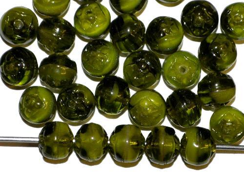 Best.Nr.:22467  Glasperlen geprägt,  olivgrün,  hergestellt in Gablonz / Tschechien