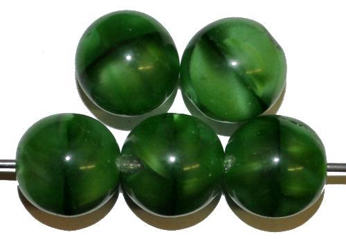 Best.Nr.:22468 Glasperlen rund Perlettglas grün, hergestellt in Gablonz / Tschechien
