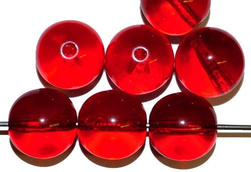 Best.Nr.:22478  Glasperlen rund,  rot transp.,  hergestellt in Gablonz / Tschechien