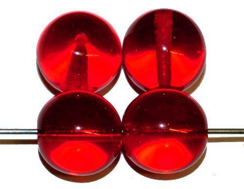 Best.Nr.:22479  Glasperlen rund,  rot transp.,  hergestellt in Gablonz / Tschechien