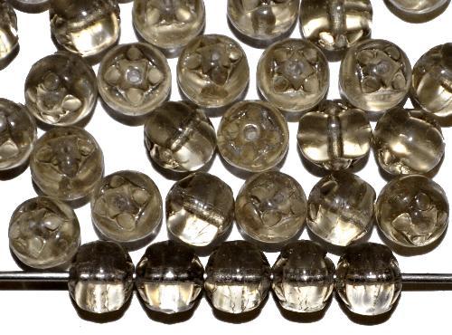 Best.Nr.:22482  Glasperlen geprägt,  Black Diamond transp.,  hergestellt in Gablonz / Tschechien