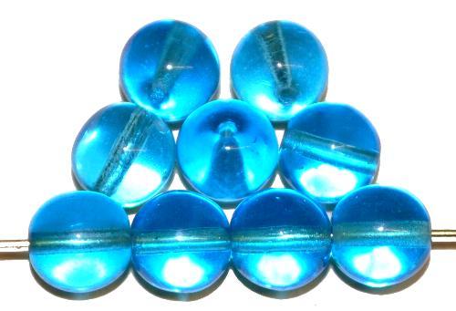 Best.Nr.:22504 Glasperlen rund  blau transp.,  hergestellt in Gablonz / Tschechien