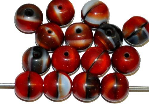 Best.Nr.:22507 Glasperlen rund rot marmoriert, hergestellt in Gablonz / Tschechien