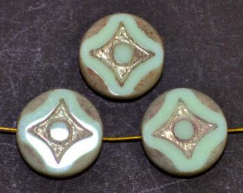 Best.Nr.:671233 Glasperlen / Table Cut Beads mint opak, geschliffen mit burning silver picasso finish
