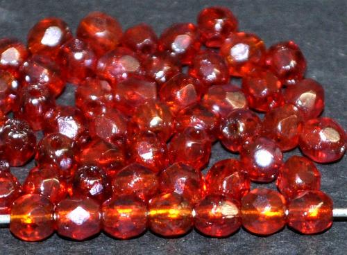 Best.Nr.:23017 facettierte Glasperlen rot transp. mit lüster, hergestellt in Gablonz / Tschechien